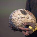 Not Released: Rugby, player''s mud-covered hands holding ball, close-up (Photo by David Rogers/Getty Images)