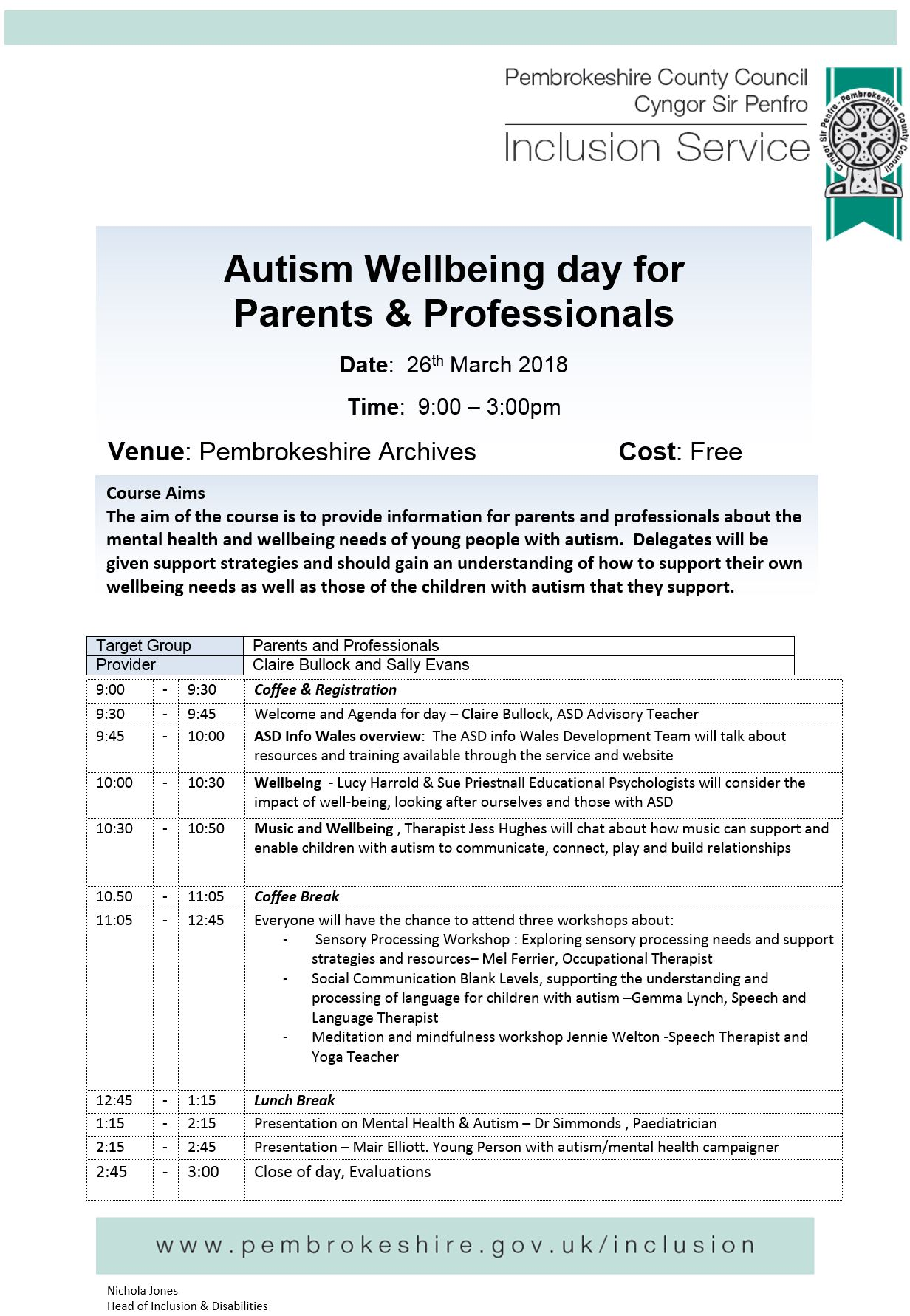 Autism Wellbeing Day For Parents
