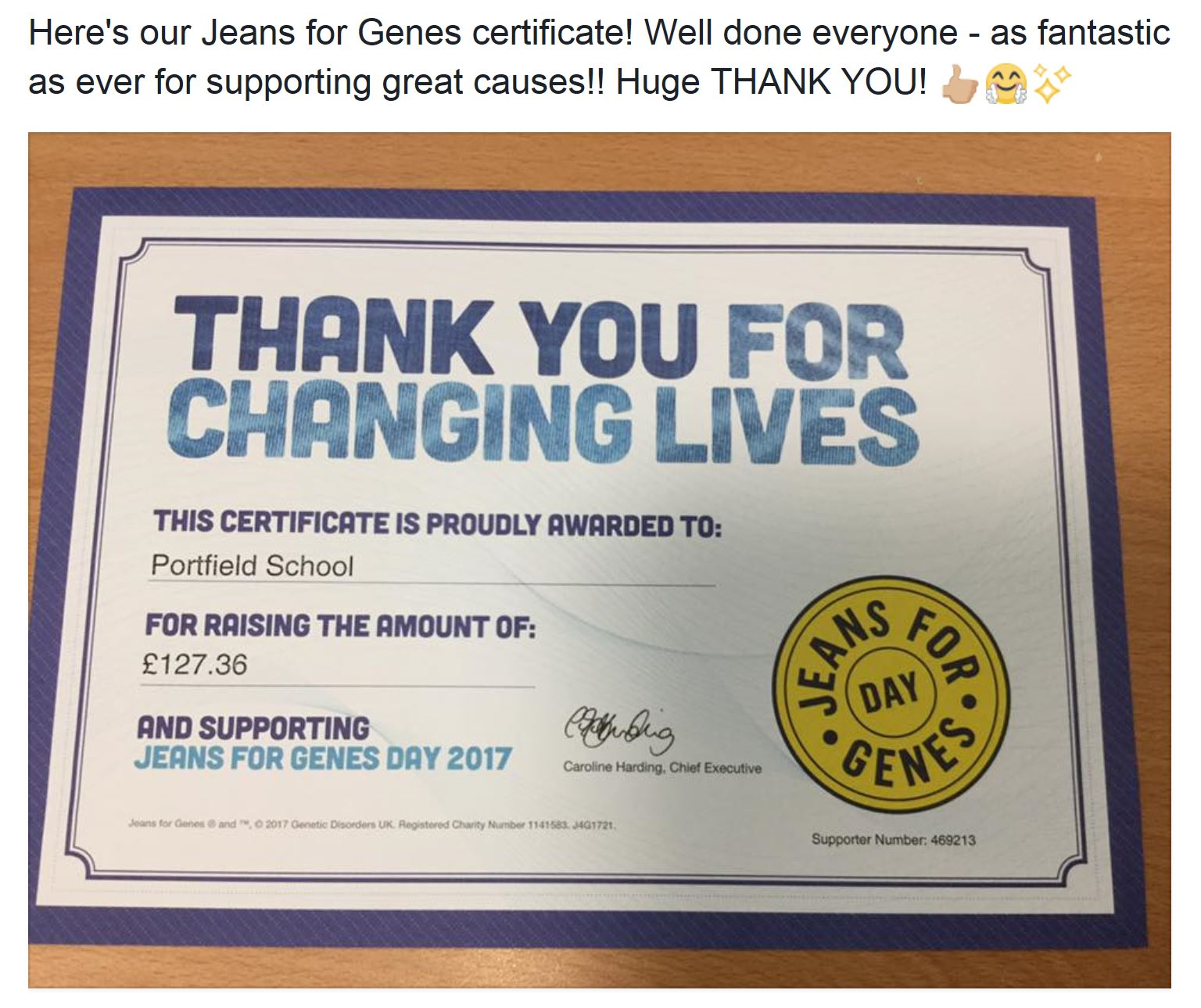 Jeans for Genes Award