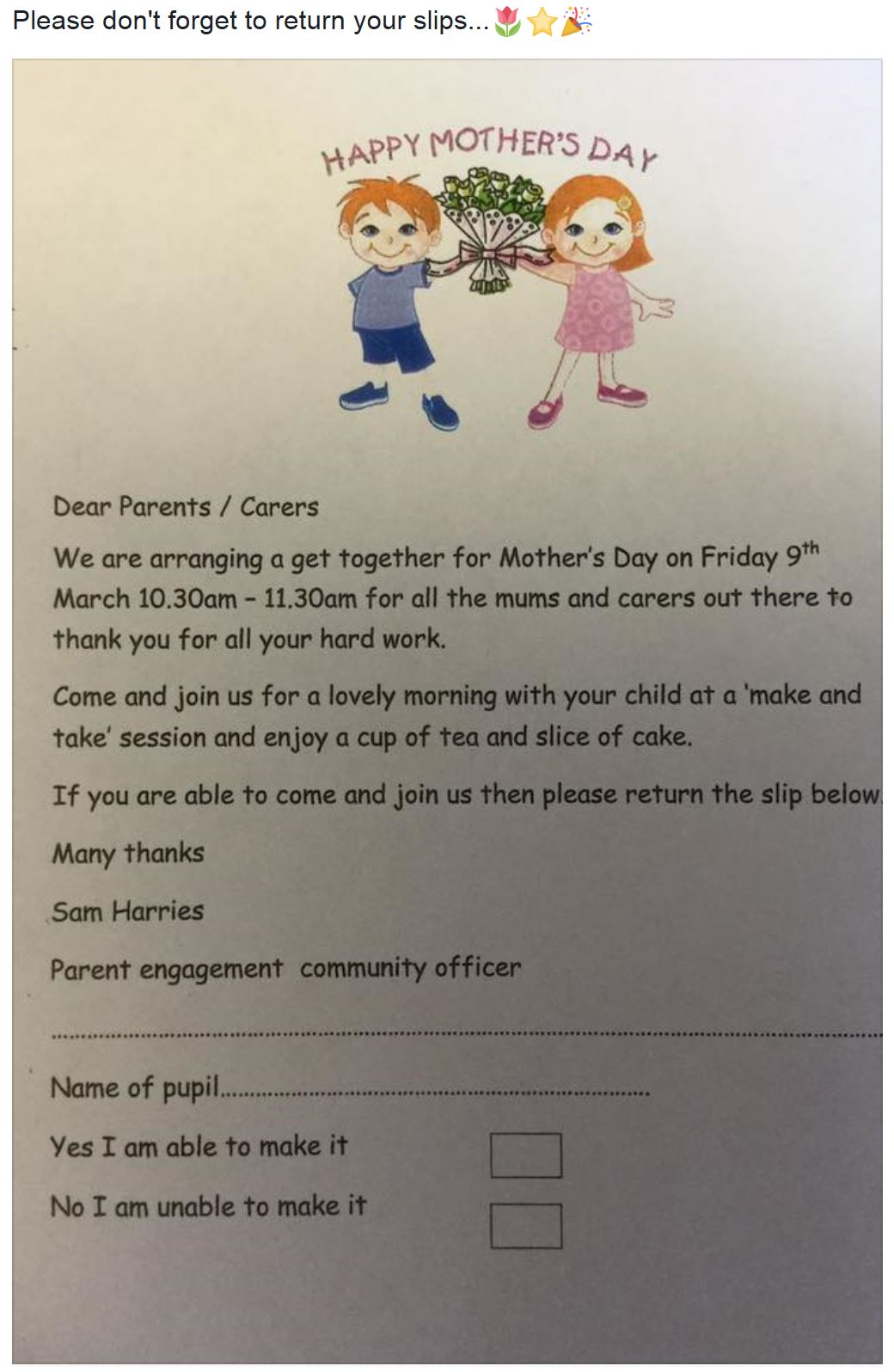 Mothers Day Get together slips