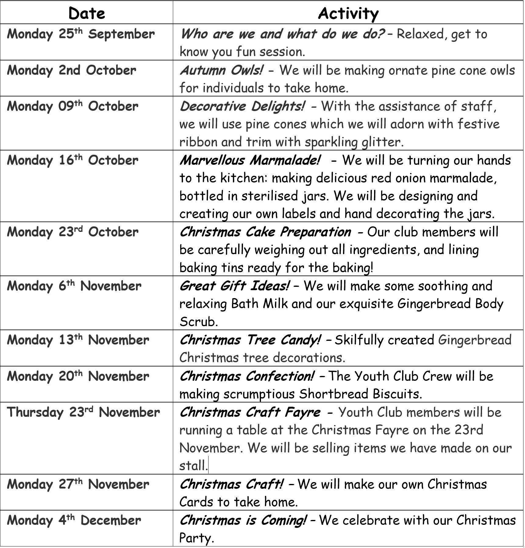 Youth Club Calendar Autumn Term1