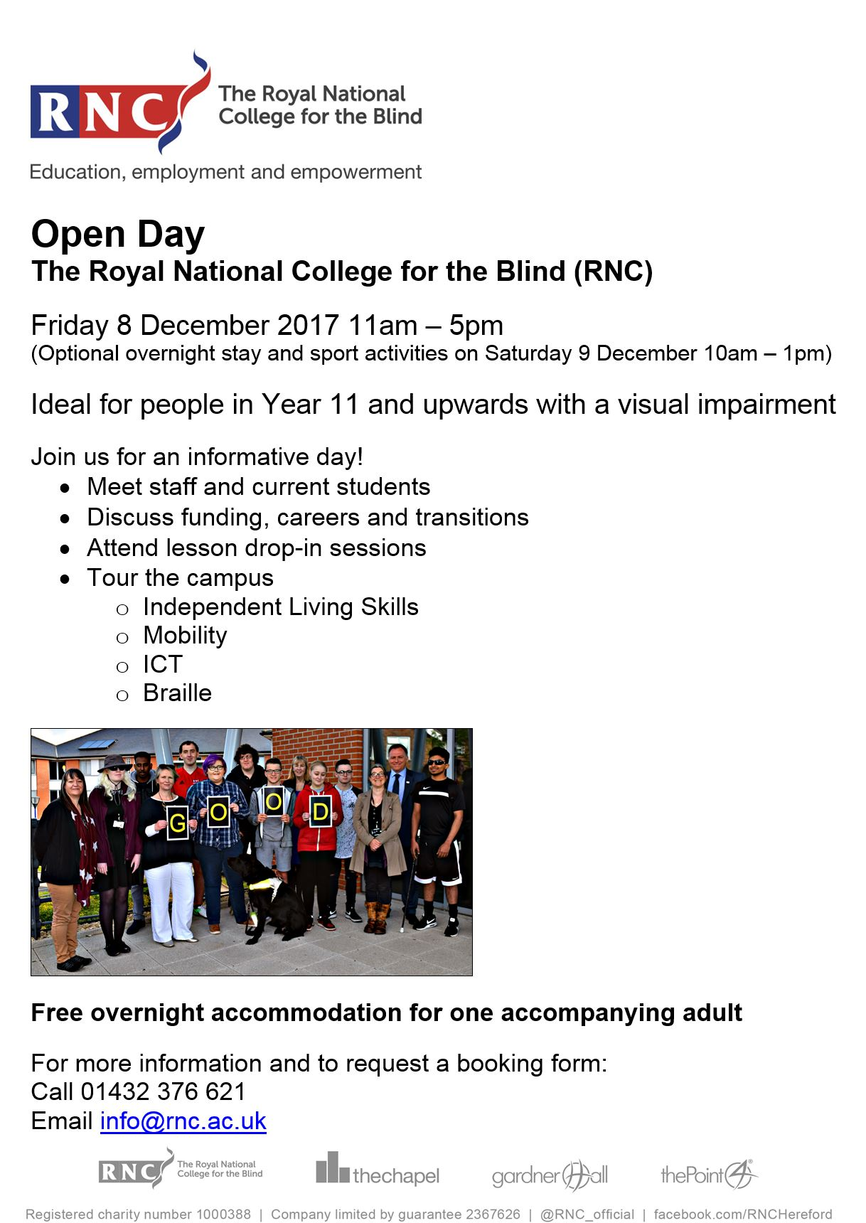 college open day for the blind