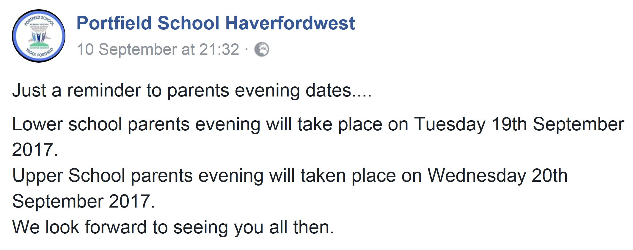 parents evening dates