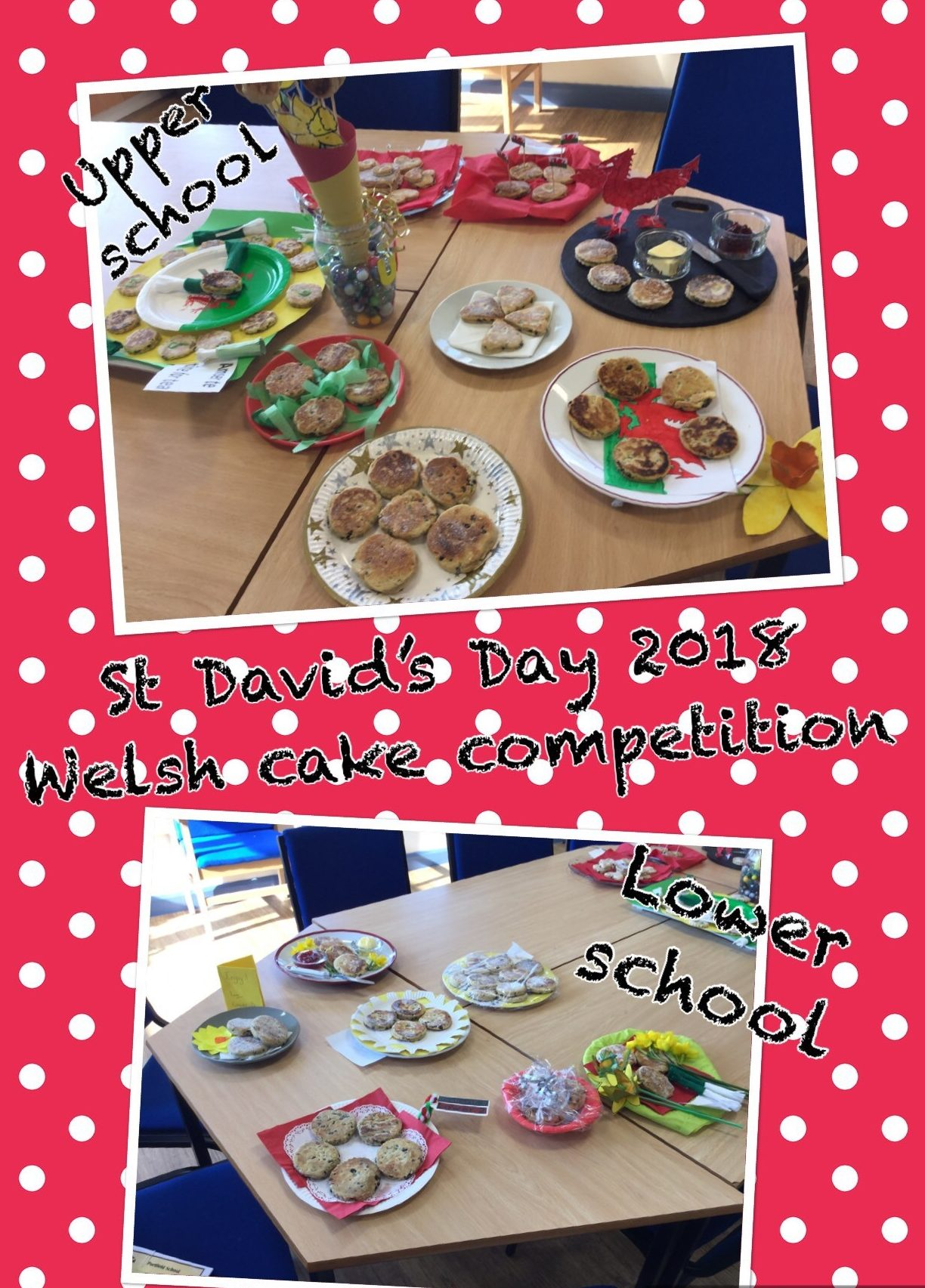 Classes were invited to enter the Welsh cake competition. Each class were asked to enter their finest Welsh Cakes into the competition which is judged by our Chair of Governors, Mrs Thomas-Cleaver. The completion entries were a very high standard. The winners will be announced later this week.