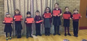 World Book Day Best Costume Winners; Achievement Assembly Certificates.