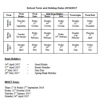 school holiday dates