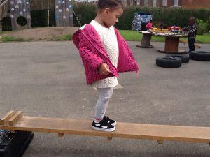 We practice climbing and balancing skills.