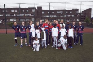 LONDON, ENGLAND - MAY 08: In this handout image provided by NatWest - England Players Joe Root (6th From left at back), Heather Knight(4th from left at the back), Iain Nairn (Far Left) and Moeen Ali (4th from right) are joined by children from Vauxhall Primary school at the NatWest 'Cricket has no boundaries' campaign launch at the Black Prince Community Trust Hub on May 1, 2017 in Vauxhall,London. (Photo by Handout/Getty Images)