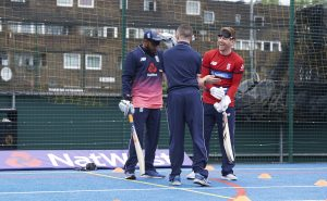 LONDON, ENGLAND - MAY 08: In this handout image provided by NatWest Adil Rashid and Eoin Morgan of England at the NatWest 'Cricket has no boundaries' campaign launch at the Black Prince Community Trust Hub on May 1, 2017 in Vauxhall,London. (Photo by Handout/Getty Images)