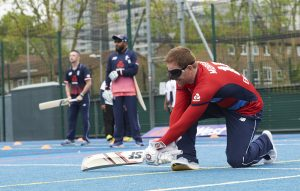 LONDON, ENGLAND - MAY 08: In this handout image provided by NatWest  - Eoin Morgan of England playing visually impaired cricket at the NatWest 'Cricket has no boundaries' campaign launch at the Black Prince Community Trust Hub on May 1, 2017 in Va uxhall,London. (Photo by Handout/Getty Images)