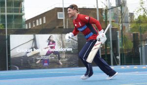 LONDON, ENGLAND - MAY 08: In this handout image provided by NatWest - Eoin Morgan of England playing visually impaired cricket at the NatWest 'Cricket has no boundaries' campaign launch at the Black Prince Community Trust Hub on May 1, 2017 in Vauxhall,London. (Photo by Handout/Getty Images)