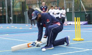 LONDON, ENGLAND - MAY 08: In this handout image provided by NatWest Adil Rashid of England playing visually impaired cricket at the NatWest 'Cricket has no boundaries' campaign launch at the Black Prince Community Trust Hub on May 1, 2017 in Vauxhall,London. (Photo by Handout/Getty Images)