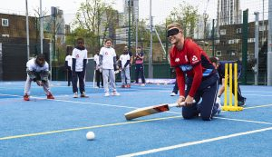 LONDON, ENGLAND - MAY 08: In this handout image provided by NatWest - Joe Root of England plays visually impaired cricket at the NatWest 'Cricket has no boundaries' campaign launch at the Black Prince Community Trust Hub on May 1, 2017 in Vauxhall,London. (Photo by Handout/Getty Images)