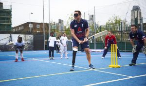 LONDON, ENGLAND - MAY 08: In this handout image provided by NatWest Iain Nairn of England plays visually impaired at the NatWest 'Cricket has no boundaries' campaign launch at the Black Prince Community Trust Hub on May 1, 2017 in Vauxhall,London. (Photo by Handout/Getty Images)