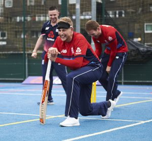 LONDON, ENGLAND - MAY 08: In this handout image provided by NatWest Joe Root of England plays visually impaired cricket at the NatWest 'Cricket has no boundaries' campaign launch at the Black Prince Community Trust Hub on May 1, 2017 in Vauxhall,London. (Photo by Handout/Getty Images)