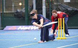 LONDON, ENGLAND - MAY 08: In this handout image provided by NatWest - Kate Cross of England plays visually impaired cricket at the NatWest 'Cricket has no boundaries' campaign launch at the Black Prince Community Trust Hub on May 1, 2017 in Vauxhall,London. (Photo by Handout/Getty Images)