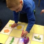 Using Bee-bot to search for the secret codes to find the Evil Pea