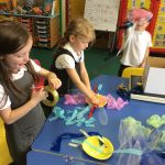 Pupils engaged in a craft activity